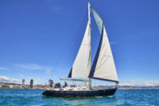 A sailing yacht on the coast of Barcelona