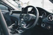 A steering wheel in a car