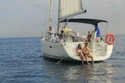 People relaxing on board a yacht in Barcelona