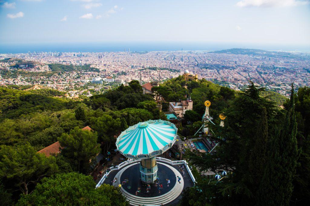 visit the tibidabo theme park in barcelona