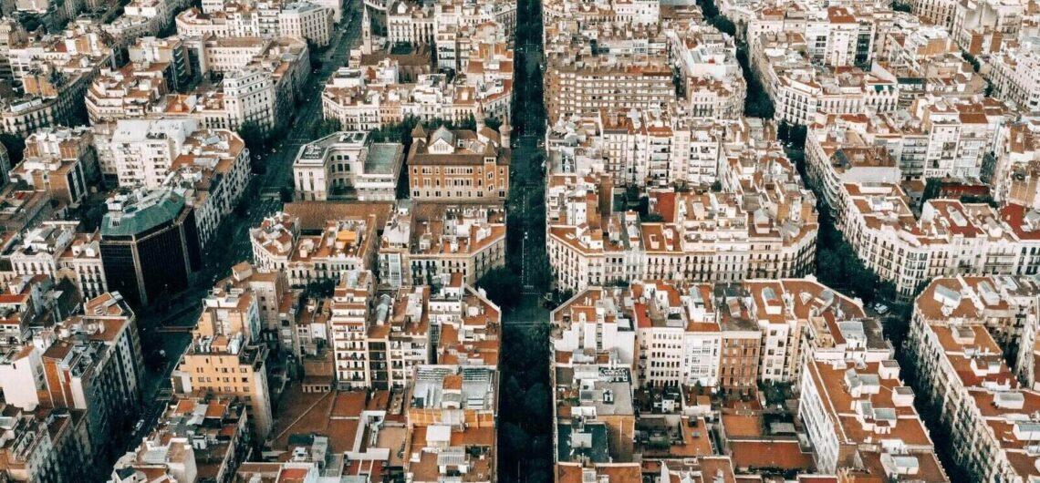 Birds eye view of Barcelona City
